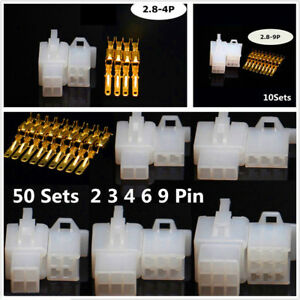 Car Motor 50Sets Auto Electrical 2.8mm 2 3 4 6 9 Pin Wire Cnector Terminal Well