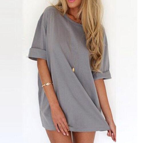 Women Summer Short Sleeve T-Shirt Dress Crew Neck Mini Dress Sundresss Plus Tops