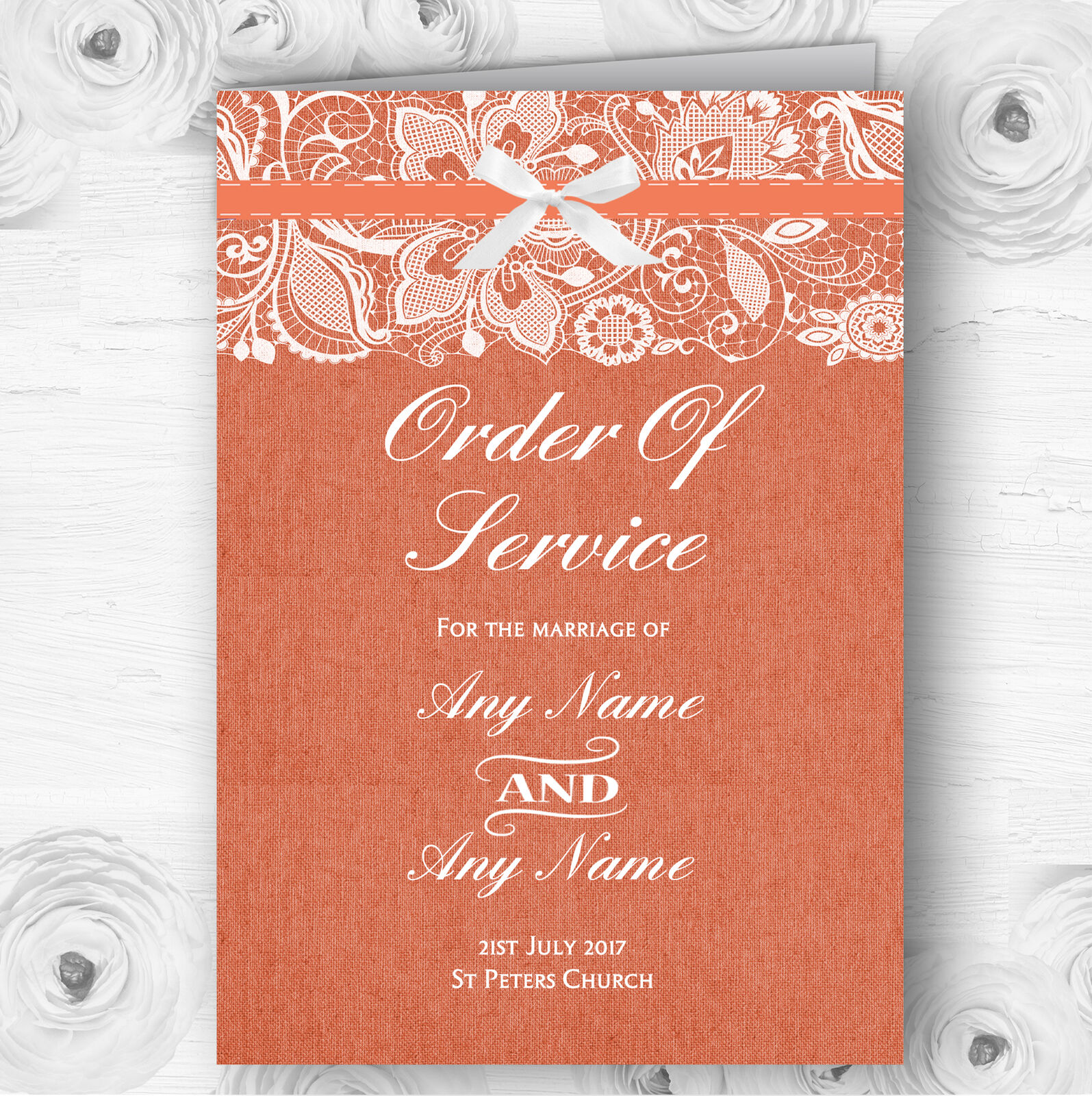 Vintage Coral Burlap & Lace Personalised Wedding Double Cover Order Of Service