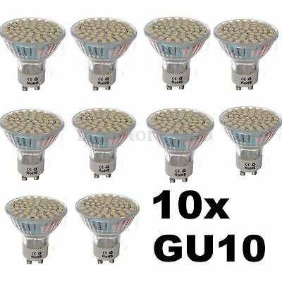 10x 5W GU10 3528 SMD 60LED Pure White 6500K High Power Spot Light Bulb Lamp 220V