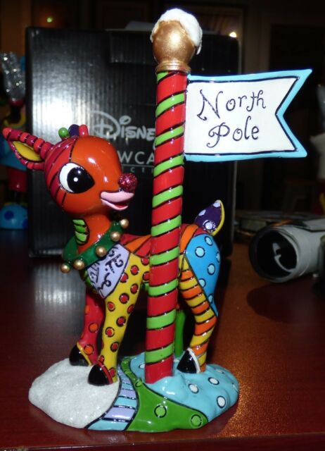 Romero Britto Rudolph The Red-Nosed Reindeer North Pole Figurine ~ 4039611