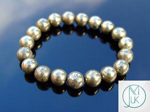 Pyrite 10mm Natural Gemstone Bracelet 6-9'' Elasticated Healing Stone Chakra