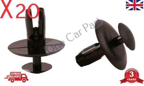 20x PEUGEOT 206 WHEEL ARCH SPLASHGUARD INNER COVER BONNET GRILLE PLASTIC CLIPS