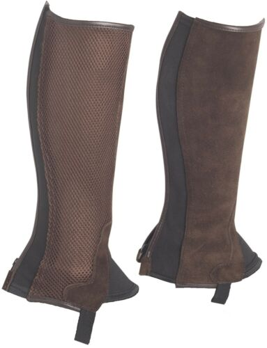 Brown Genuine Suede Leather with Mesh and Back Zip Horse Riding Chaps