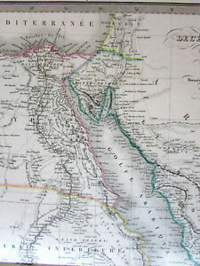 North-Africa-Egypt-w-huge-Mts-of-Moon-1854-Lapie-large-old-engraved-color-map