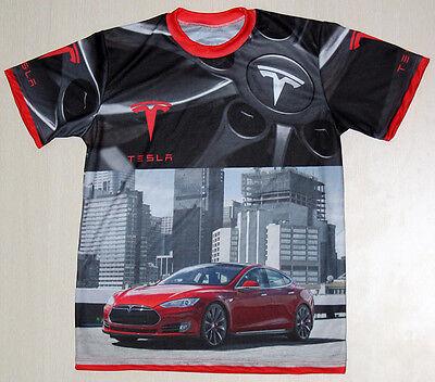 Tesla Model S Logo unique handmade sublimation graphics men's t-shirt