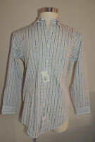 Cezani White W/green & Lavender Stripes 100% Cotton Dress Shirt 16-32/33