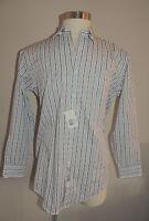 Cezani White W/green & Lavender Stripes 100% Cotton Dress Shirt 16-32/33