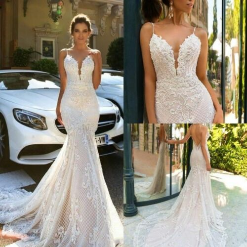 Beach Wedding Dresses Mermaid Sheath Bridal Gowns Spaghetti Straps Custom Made
