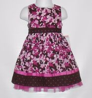 Youngland Infant Girls Spring Summer Floral Dress Purple & Brown 24m