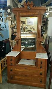 Antique Solid Wood Eastlake Victorian Marble Top Dresser With Large Mirror
