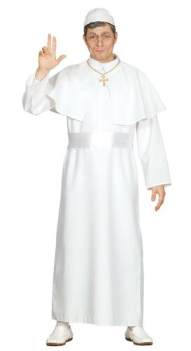 Mens White Pope Costume Priest Fancy Dress Religious Outfit Vicar Cardinal Robes