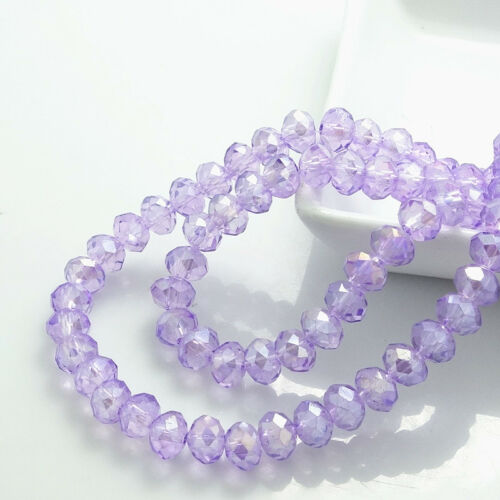 Wholesale 100pcs Rondelle Faceted Crystal Glass Loose Spacer Beads  6mm 185Color