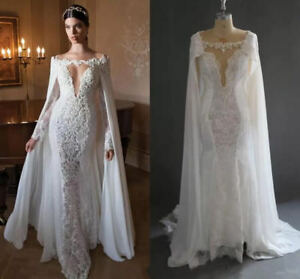 Sexy-V-Neck-Full-Sleeve-Lace-White-Wedding-Dresses-2018-Bridal-Gown-With-Cape