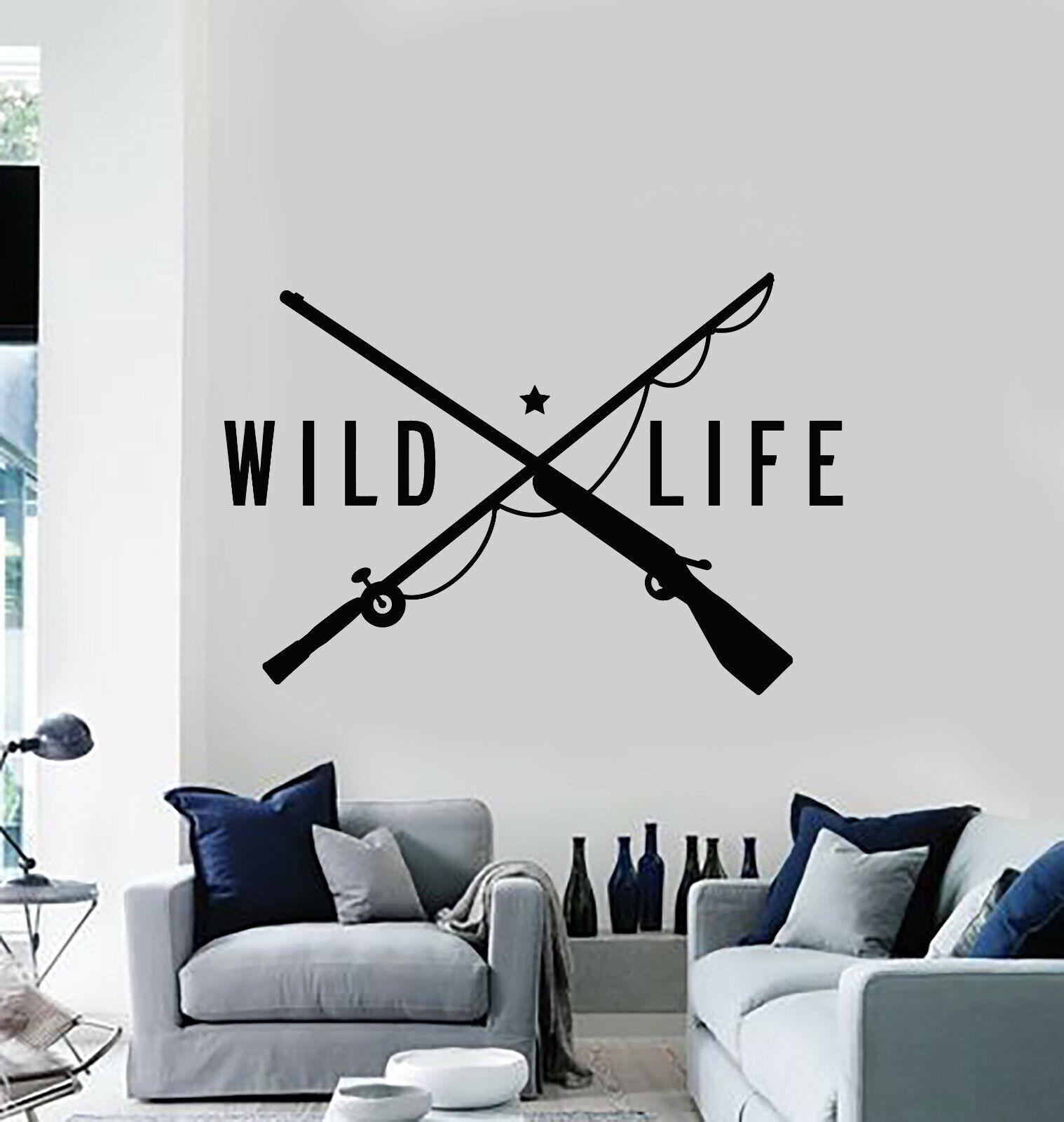 Vinyl Wall Decal Wild Life Gun Fishing Rod Hunting Store Decor Stickers (g961)
