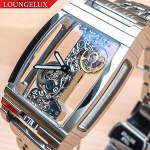 NEU-Herren-Klassische-Schwungrad-Edelstahl-Band-Luxus-Bling-Skelett-Mechanische-Uhr