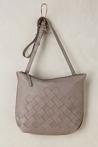6de4a15109e5 Image is loading NEW-Anthropologie-Delfina-Woven-Leather-Messenger-Bag-Gray