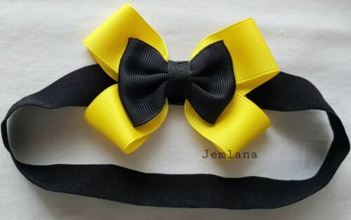 Elastic headband toddlers. for infant Jemlana/'s handmade Emma wiggle bow