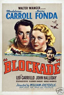 Blockade Henry Fonda vintage movie poster