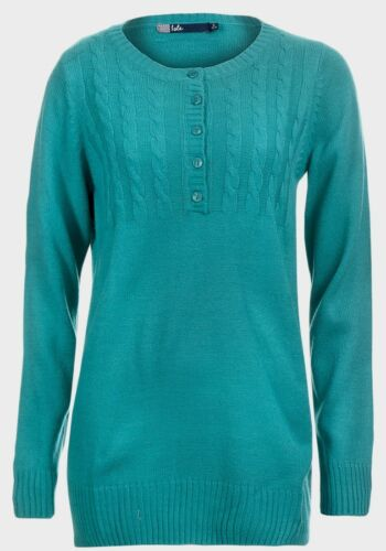 LADIES JUMPER WITH CABLE AND BUTTON TRIM AQUAMARINE NEW SALE ref 328