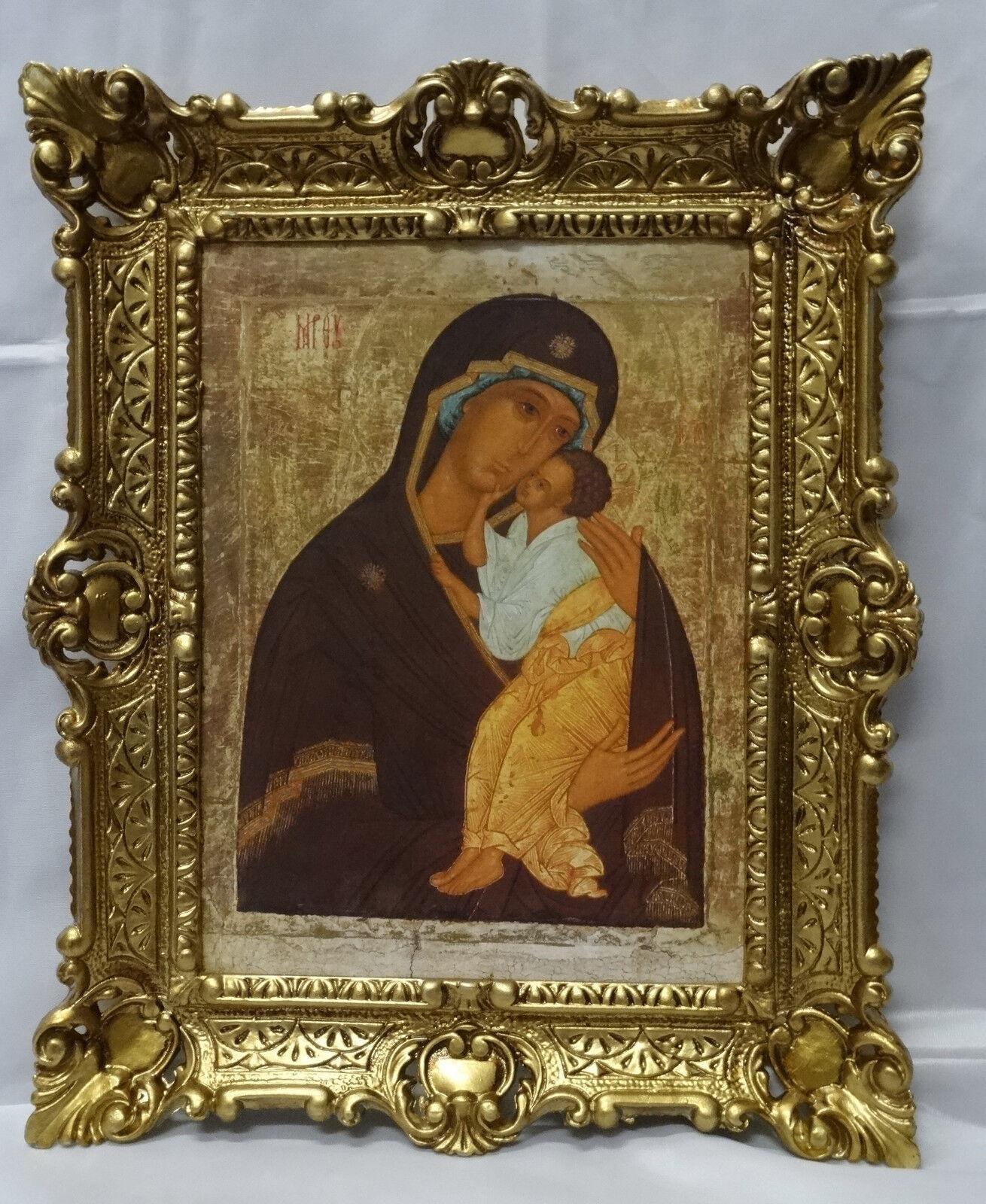 Alte russische Ikone Gottesmutter Tichvinskaja Heiligenbild mit Rahmen 56x46 cm