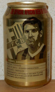 LIONEL MESSI BARCELONA Soccer Player CASTLE Lager Beer can from TANZANIA (33cl)