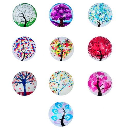 10 Wholesale Lots Glass Cabochons Life Tree Pattern Embellishment Round Mixed GW