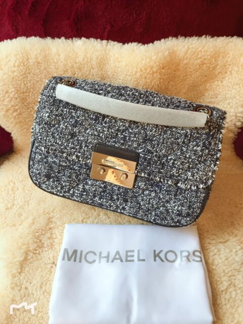 82800f39ba6f60 Michael Kors Sloan Large Tweed Shoulder Bag Admiral 30h6ssll3c for ...
