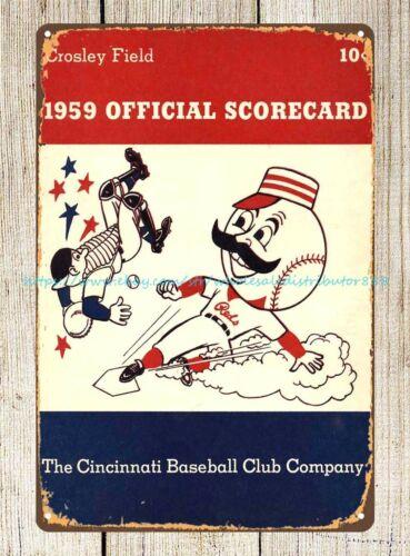 1959 Cincinnati Reds Scorecard Scorebook tin sign man cave neutral wall art