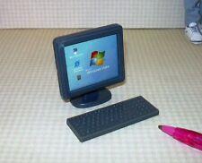 Miniature Desktop Computer/Keyboard, Grey Plastic,: DOLLHOUSE 1/12-ish Scale