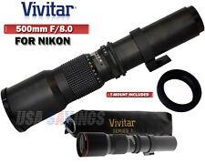 VIVITAR 500mm f/8.0 Telephoto Lens FOR NIKON D3S D3X D40 D40X D60 D70 D80 D90