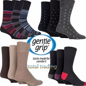 Mens-Gentle-Grip-Socks-Non-Elastic-Soft-Top-Diabetic-COTTON-WOOL-SEAM-FREE