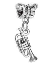 Trumpet Music Musical Instrument Dangle Bead for Silver European Charm Bracelets