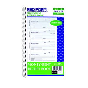 Rediform Money//Rent Receipt Book 5.5 x 2.75 inches 200 Sets Carbonless 2-Part