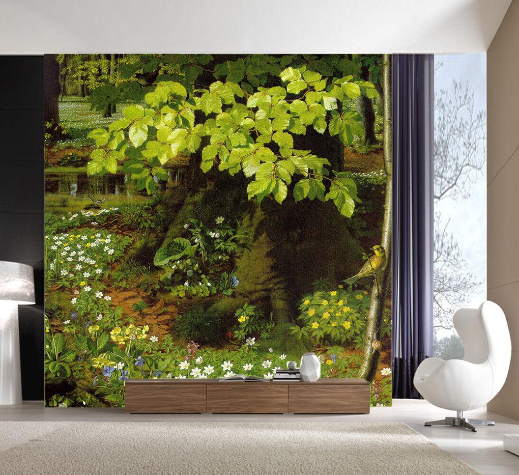 3D Green Leaves Tree 8 Wall Paper Murals Wall Print Wall Wallpaper Mural AU Kyra