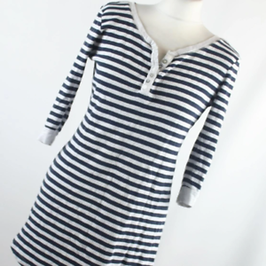 Love-to-Lounge-Womens-Size-10-Blue-Striped-Cotton-Blend-Basic-Tee
