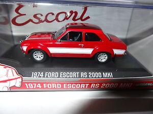 Greenlight-Ford-Escort-Mk-1-1974-RS2000-rojo-Blanco-1-43-Modelo-Fundido-86066