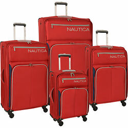 Nautica Ashore 4 Piece Expandable Spinner Luggage Set - Red