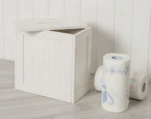 Small Wooden Groove Cabinet Storage Box Unit With Lid Bathroom