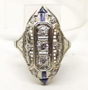 Vtg-18K-White-Gold-Diamond-Ring-Sz-6-25-Blue-Sapphire-Filigree-Art-Deco-Cocktail