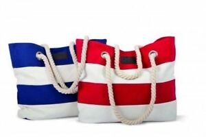 Strandtasche maritim blau/weiß gestreift Badetasche Einkaufstasche Tragetasche