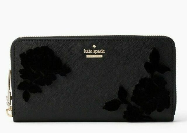KATE SPADE NWT cameron street flock roses lacey Black Leather zip around Wallet