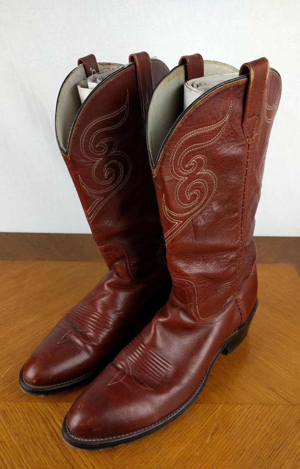 VTG Brown Dingo Cowboy Stivali Shoes Uomo Size 10.5 B Bull Riding Pelle Western