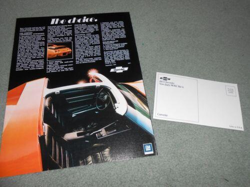 ORIGINAL /'77 /'VETTE POSTCARD 1977 CHEVROLET CORVETTE NOS BROCHURE 2 For 1