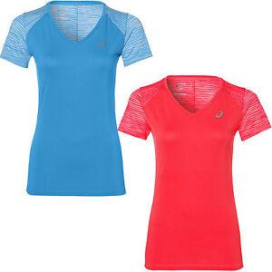 Details zu asics Performance fuzeX V-Neck Top Damen-Laufshirt Sport-Shirt  Fitness Kurzarm