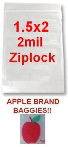 "10000 APPLE BRAND 1520 1.5x2.0 2mil CLEAR ZIPLOCK BAGS 10,000 baggies 1.5/""x2.0/"""