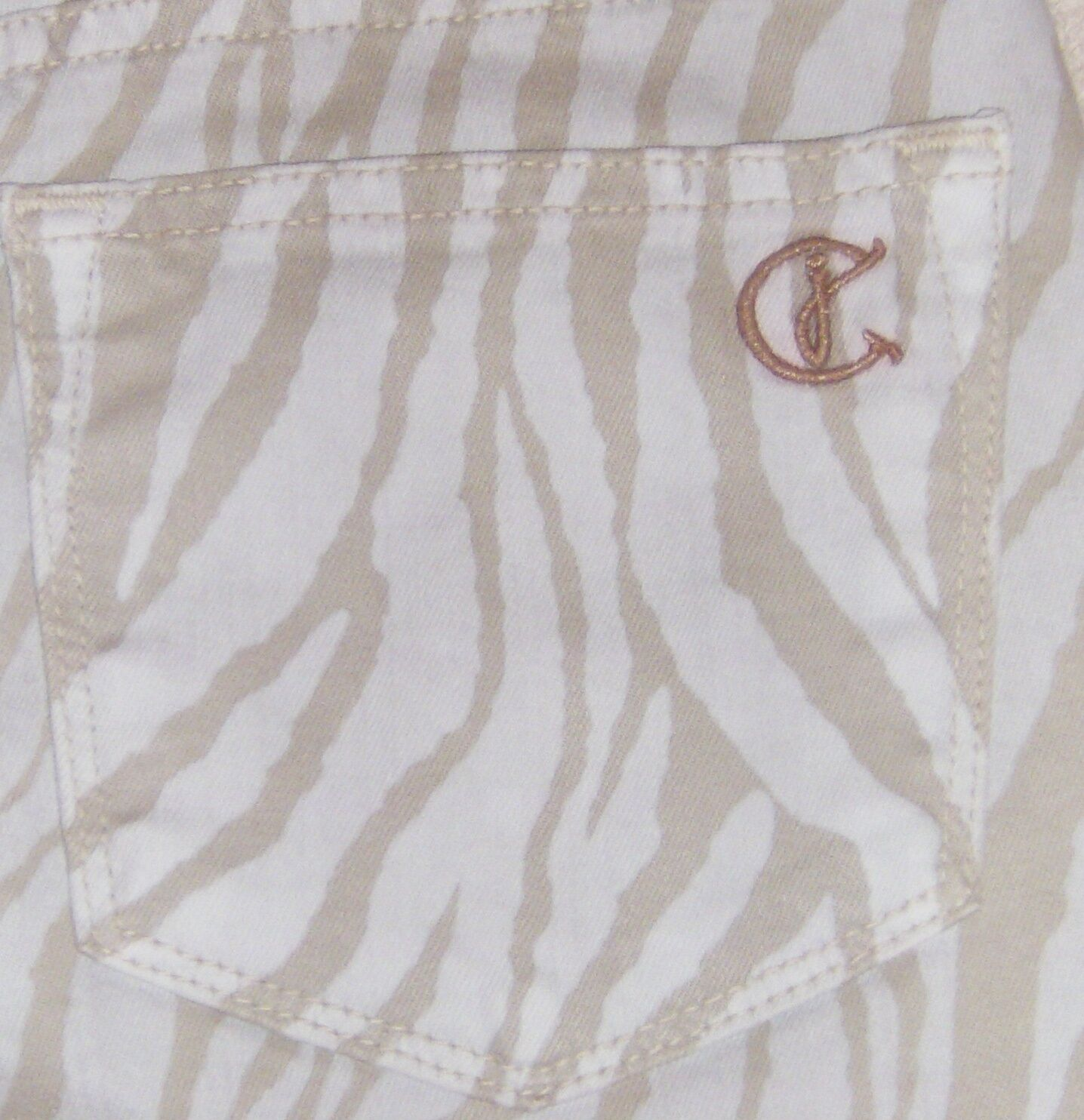 CJ  Cookie Johnson Zebra Crop Jean Believe Legging Stone color Size 26 NWT USA