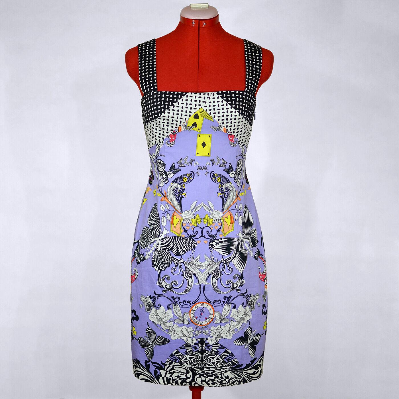 VERSACE Sleeveless Purple Sheath Dress Spring 2010  Alice in Wonderland  Size S