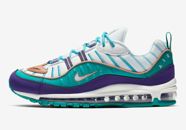 Nike Air Max 98 Charlotte Hornets Court Purple Teal 640744-500 Men's Size 12