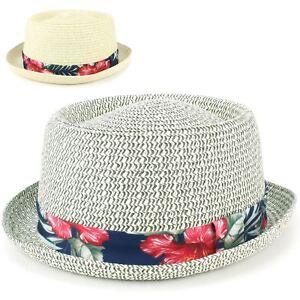 2e8ecb5b Straw Hat Porkpie Pork Pie Trilby Mens Ladies Summer Sun Retro ...